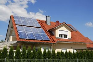 tile roofed home with solar panels