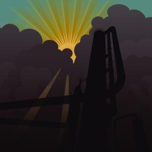 sun rising from smog