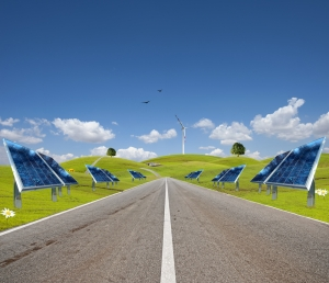 road with solar and wind