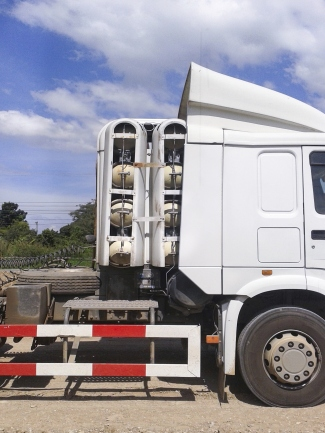 CNG fuel tanks on truck