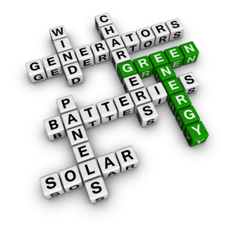 crossword puzzle with green terms