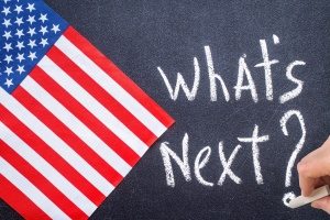 What's next on the chalk board and US flag