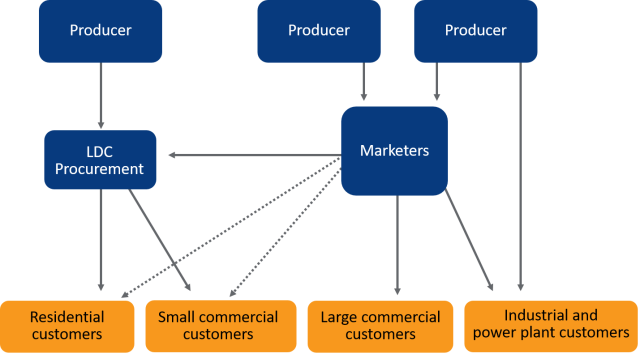 Natural gas supply market structure
